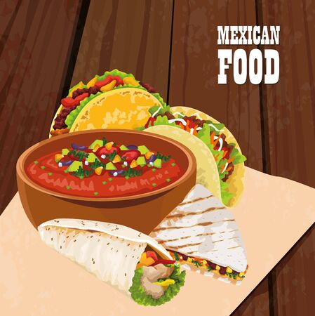 mexican food poster with tacos vector illustration design Vector Illustration