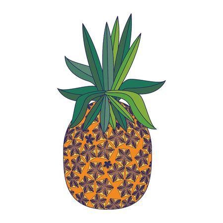 delicious tropical fruit pineapple icon cartoon vector illustration graphic design Illustration
