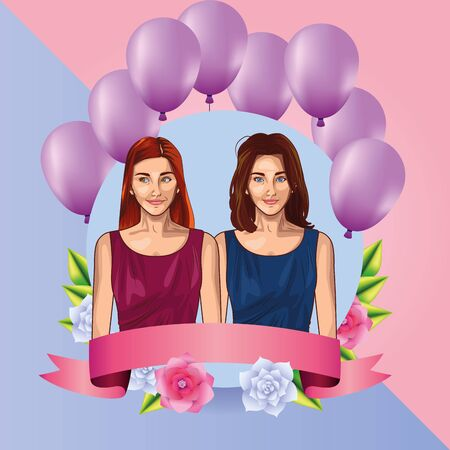Pop art beautiful women smiling with casual clothes cute pink and purple card with blank ribbon banner and balloons ,vector illustration graphic design. Иллюстрация
