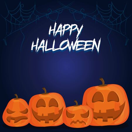 happy halloween scary night october dark celebration holiday card with pumpkins and spiderweb cartoon vector illustration graphic design