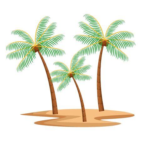 nature tropical beach palms isolated cartoon vector illustration graphic design Stock Illustratie