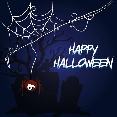 happy halloween scary night october dark celebration holiday card, cemetery scene with stones cartoon vector illustration graphic design