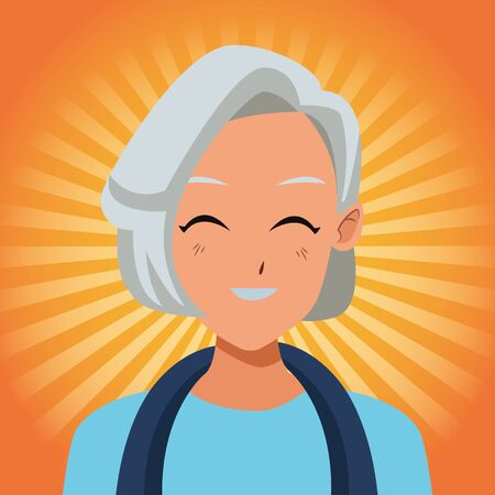old woman smiling and happy isolated on orange striped bakground ,vector illustration graphic design.
