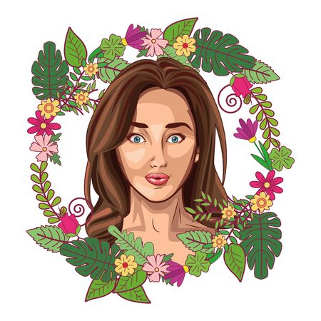 Pop art beautiful woman face smiling cartoon on floral wreath round emblem ,vector illustration graphic design. Иллюстрация