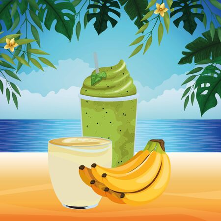 tropical fruit and smoothie drink with banana icon cartoon over the beach with seascape vector illustration graphic design Stock fotó - 133476419