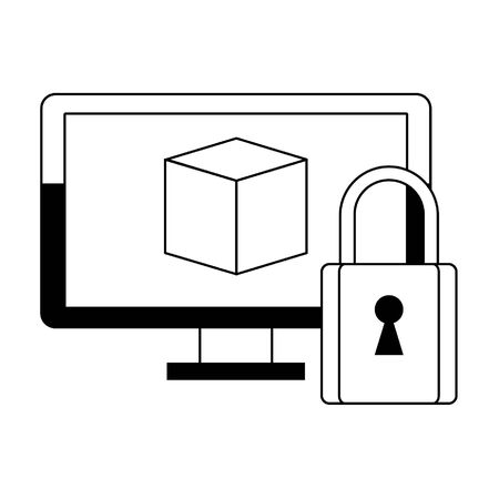 Computer monitor and padlock security system vector illustration graphic design