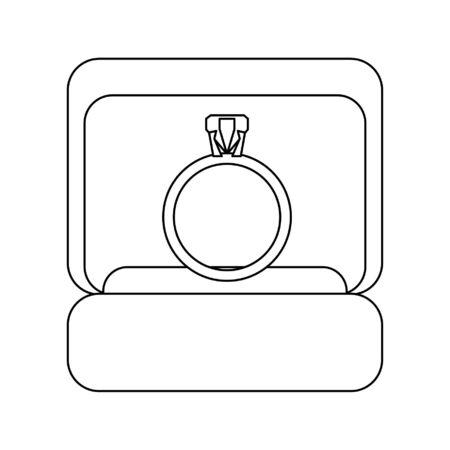 Wedding ring box cartoon isolated vector illustration graphic design Illustration