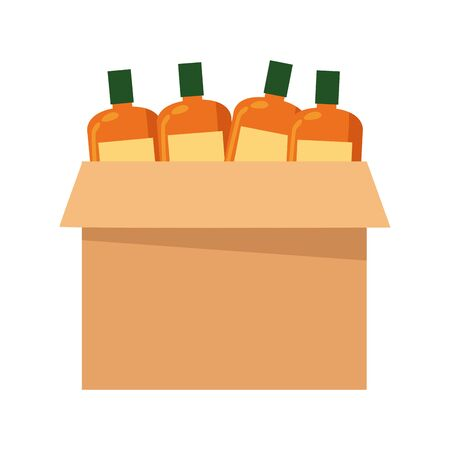 box with bottles icon over white background, vector illustration Illusztráció