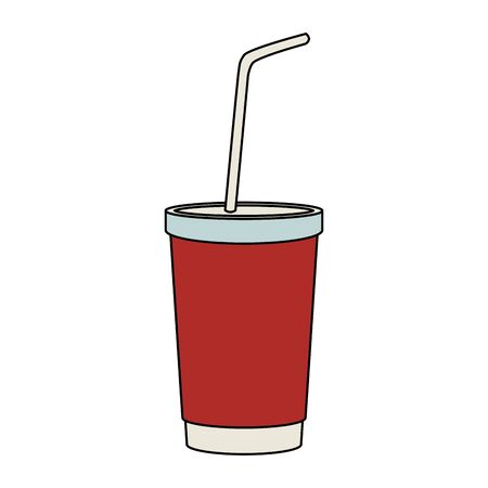 drink cup with straw icon over white background, vector illustration Çizim