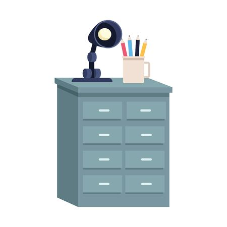 drawer with lamp and mug with pencils over white background, vector illustration