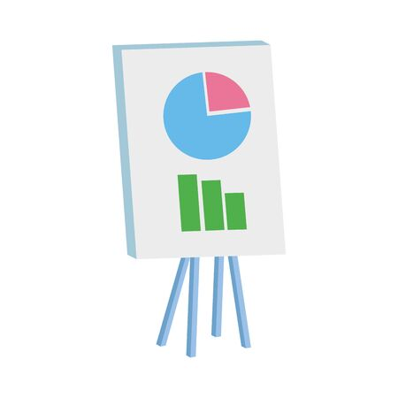 presentation board with graphic chart over white background, vector illustration  イラスト・ベクター素材