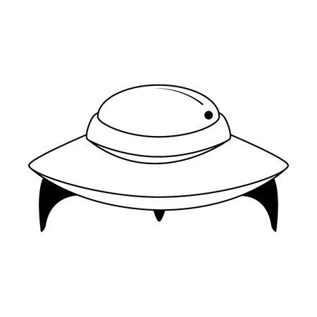 flying saucer icon over white background, vector illustration Иллюстрация