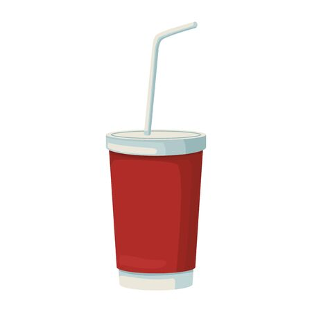 drink cup with straw icon over white background, vector illustration Ilustrace