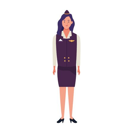 stewardess woman standing icon over white background, vector illustration Ilustración de vector
