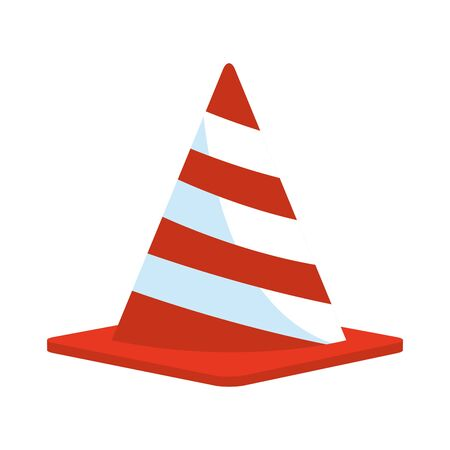 safety cone icon over white background, vector illustration
