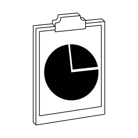 report table with graphic chart over white background, vector illustration  イラスト・ベクター素材