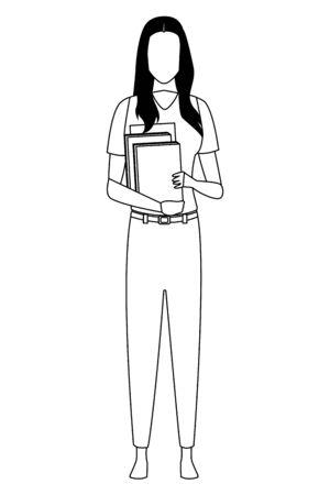 Teacher woman with books profession avatar vector illustration graphic design Ilustracja