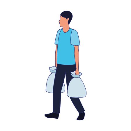 avatar man walking with supermarket bags over white background, vector illustration