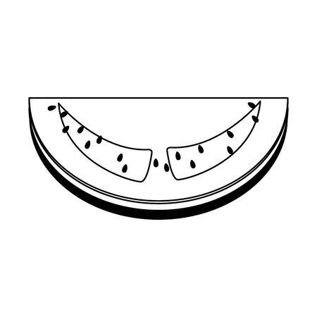 icono de sandía sobre fondo blanco, ilustración vectorial