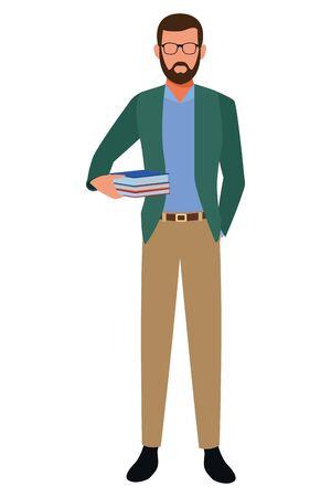 Teacher with books profession avatar vector illustration graphic design