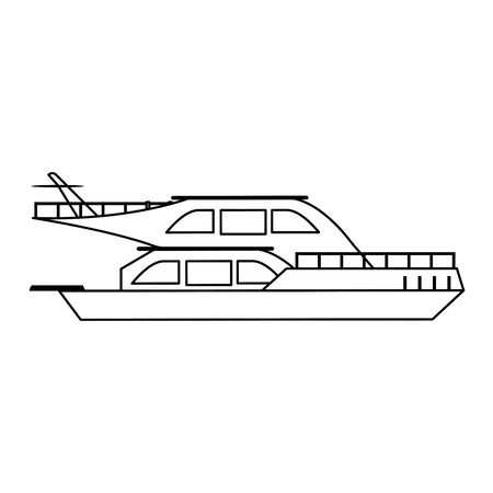 Yacht luxury ship boat sideview vector illustration graphic design