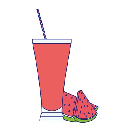 watermelon juice glass icon over white background, vector illustration Illusztráció