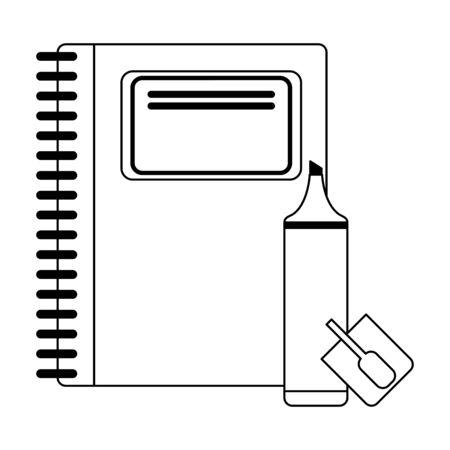 School utensils and supplies book and marker Designe