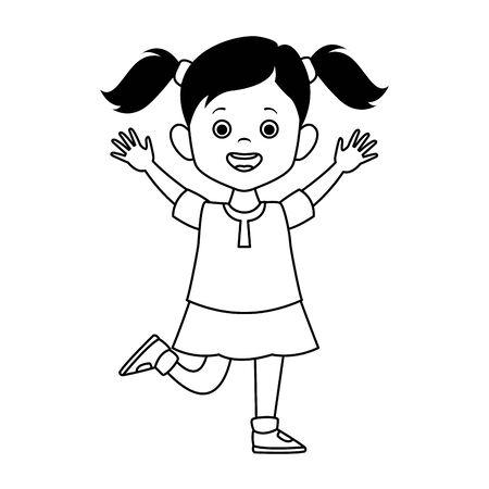 caricatura, lindo, niña, emocionado, icono, encima, blanco, plano de fondo, vector, ilustración