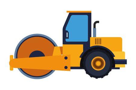 Aplanadora de vehículos de construcción aislado ilustración vectorial diseño gráfico