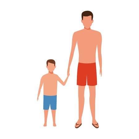 avatar father and son with swimsuit over white background, vector illustration  イラスト・ベクター素材