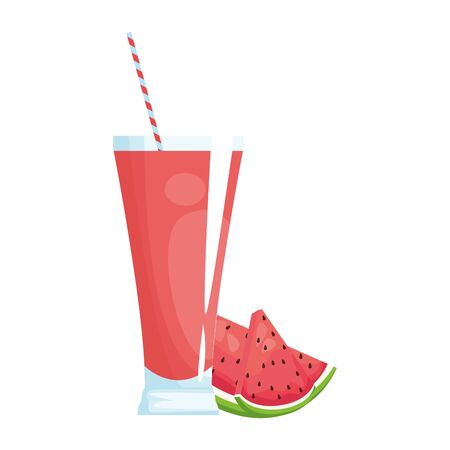watermelon juice glass icon over white background, vector illustration Illusztráció