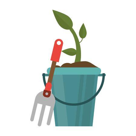 Gardening tools plant in bucket and rake vector illustration graphic design