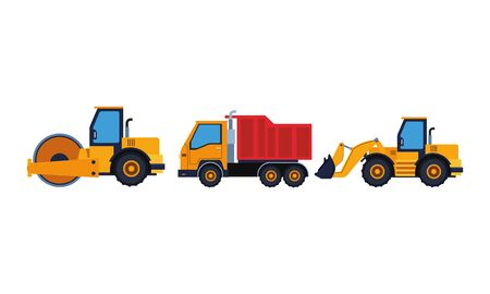 Construction vehicles steamroller and truck with excavator machinery vector illustration graphic design Stock Vector - 133621407