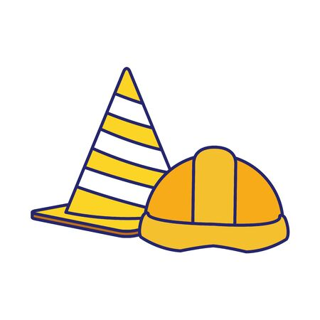 traffic cone and safety helmet icon over white background, vector illustration Иллюстрация