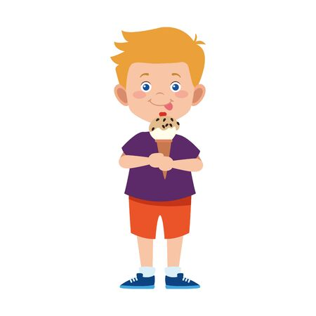 cartoon little boy eating ice cream cone over white background, vector illustration
