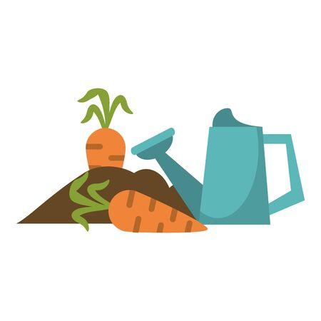 Garden with carrots and water can vector illustration graphic design Illusztráció