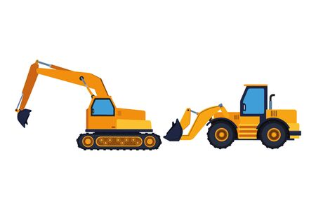 Construction vehicles backhoes machinery vector illustration graphic design