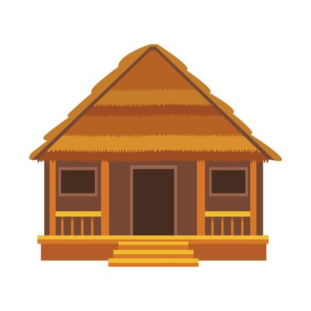 beach house icon over white background, vector illustration