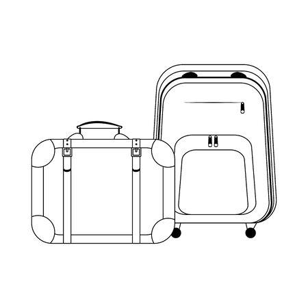 Icono de maleta y mochila de viaje sobre fondo blanco, ilustración vectorial