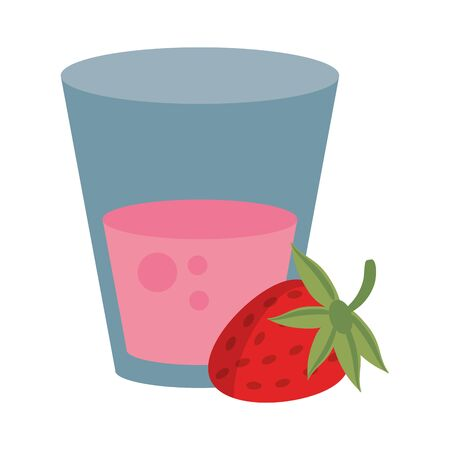 Strawberry juice cup with fruit vector illustration graphic design