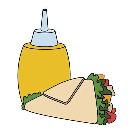 mustard sauce bottle and wrap icon over white background, fast food design, vector illustration Ilustracja