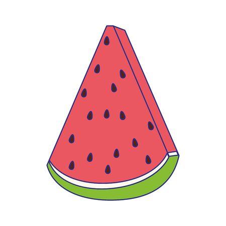 Fetta di anguria icona di frutta su sfondo bianco, illustrazione vettoriale