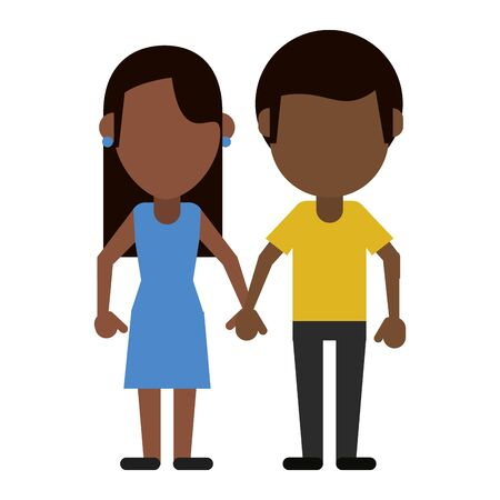 boyfriend and girlfriend clasped hands faceless avatar vector illustration graphic design