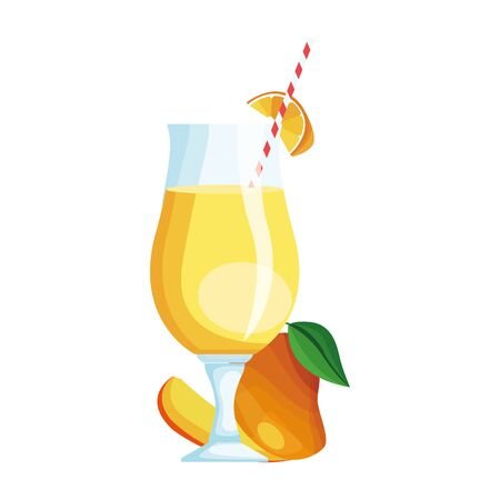 mango juice glass icon over white background, vector illustration Stock fotó - 133628789
