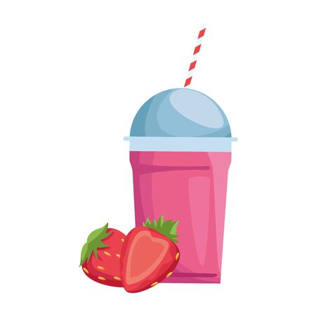 strawberry smoothie cup icon over white background, vector illustration Stock fotó - 133628799