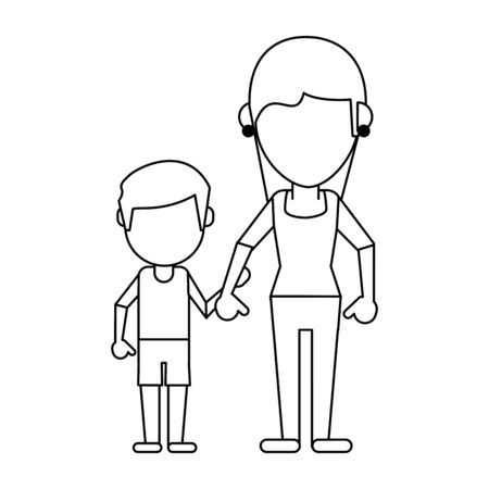 Family mother with son avatar faceless cartoon vector illustration graphic design