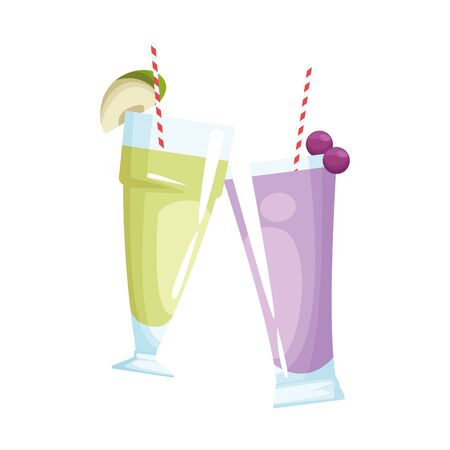 coconut and grape smoothies cups over white background, vector illustration Stock fotó - 133632248
