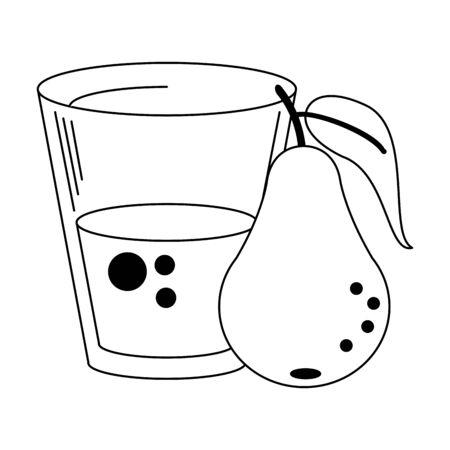 Pear juice cup with fruit vector illustration graphic design Illusztráció