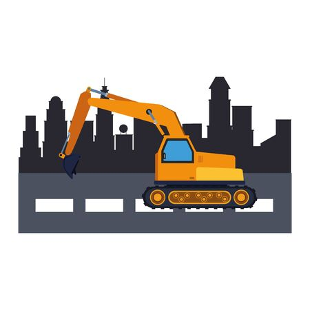 Contruction vehicle backhoe machine in the city scenery vector illustration graphic design Illustration