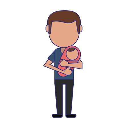 single father with baby in arms faceless avatar vector illustration graphic design